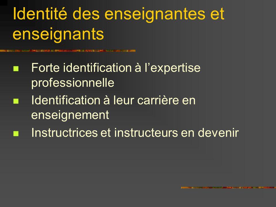 Identité des enseignantes et enseignants Forte identification à l'expertise professionnelle Identification à leur carrière en enseignement Instructric