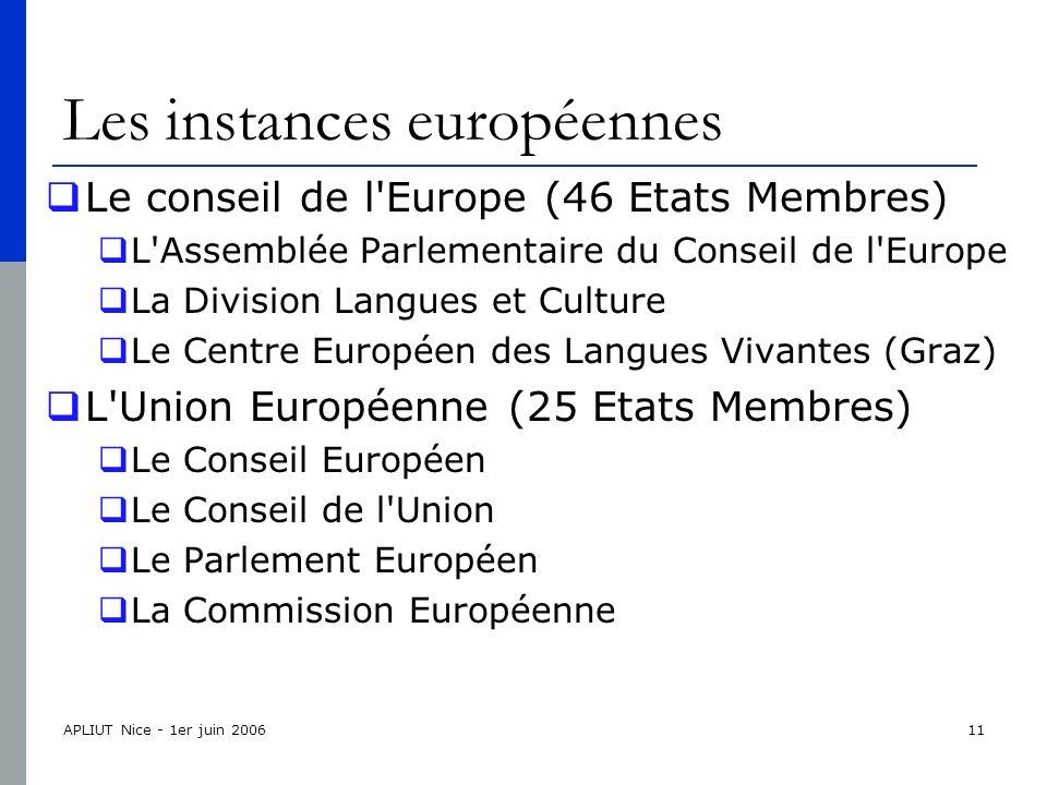 APLIUT Nice - 1er juin 200611 Les instances européennes  Le conseil de l Europe (46 Etats Membres)  L Assemblée Parlementaire du Conseil de l Europe  La Division Langues et Culture  Le Centre Européen des Langues Vivantes (Graz)  L Union Européenne (25 Etats Membres)  Le Conseil Européen  Le Conseil de l Union  Le Parlement Européen  La Commission Européenne