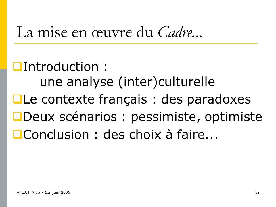 APLIUT Nice - 1er juin 200615 La mise en œuvre du Cadre...
