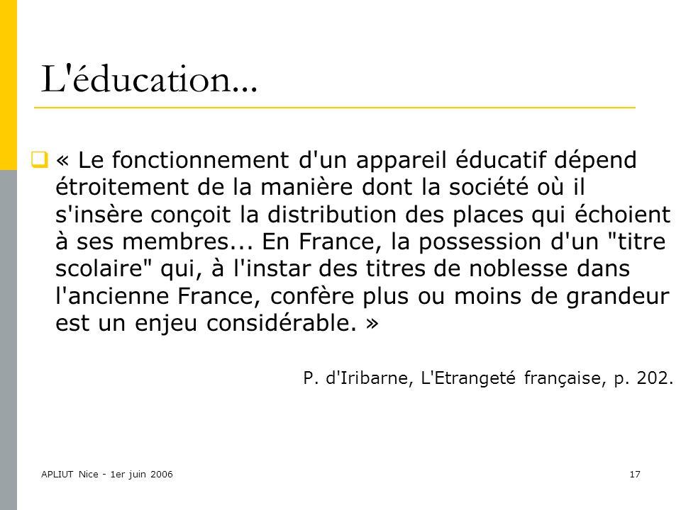 APLIUT Nice - 1er juin 200617 L éducation...