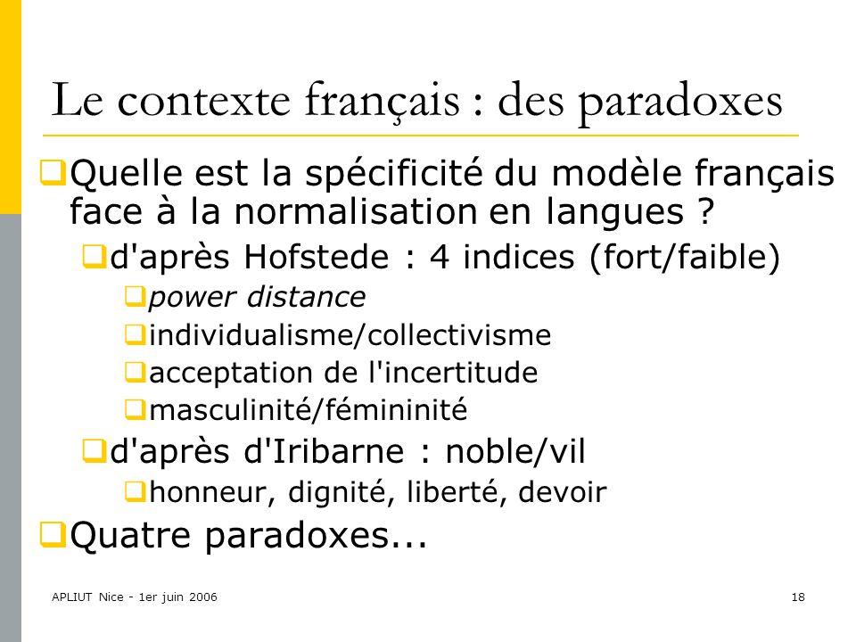 APLIUT Nice - 1er juin 200618 Le contexte français : des paradoxes  Quelle est la spécificité du modèle français face à la normalisation en langues .