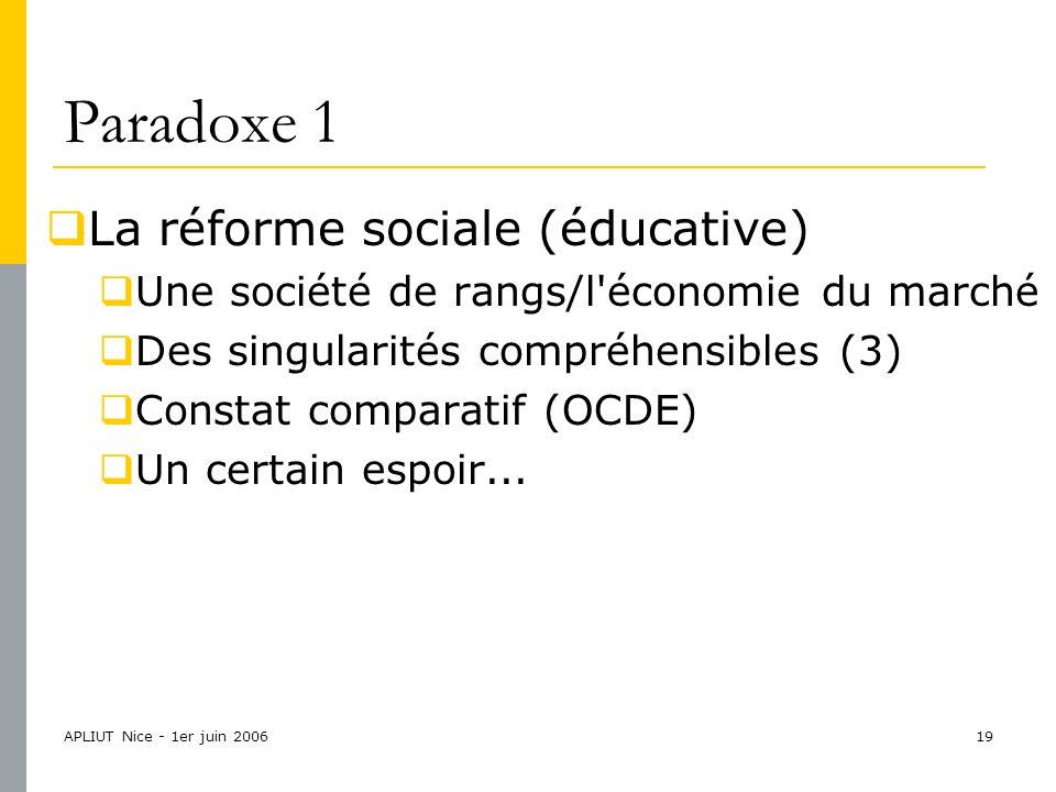 APLIUT Nice - 1er juin 200619 Paradoxe 1  La réforme sociale (éducative)  Une société de rangs/l économie du marché  Des singularités compréhensibles (3)  Constat comparatif (OCDE)  Un certain espoir...