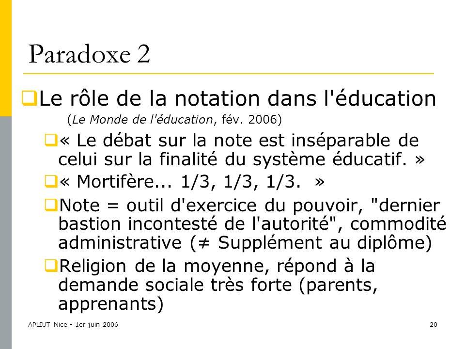APLIUT Nice - 1er juin 200620 Paradoxe 2  Le rôle de la notation dans l éducation (Le Monde de l éducation, fév.
