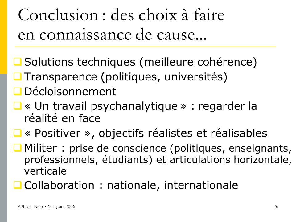 APLIUT Nice - 1er juin 200626 Conclusion : des choix à faire en connaissance de cause...