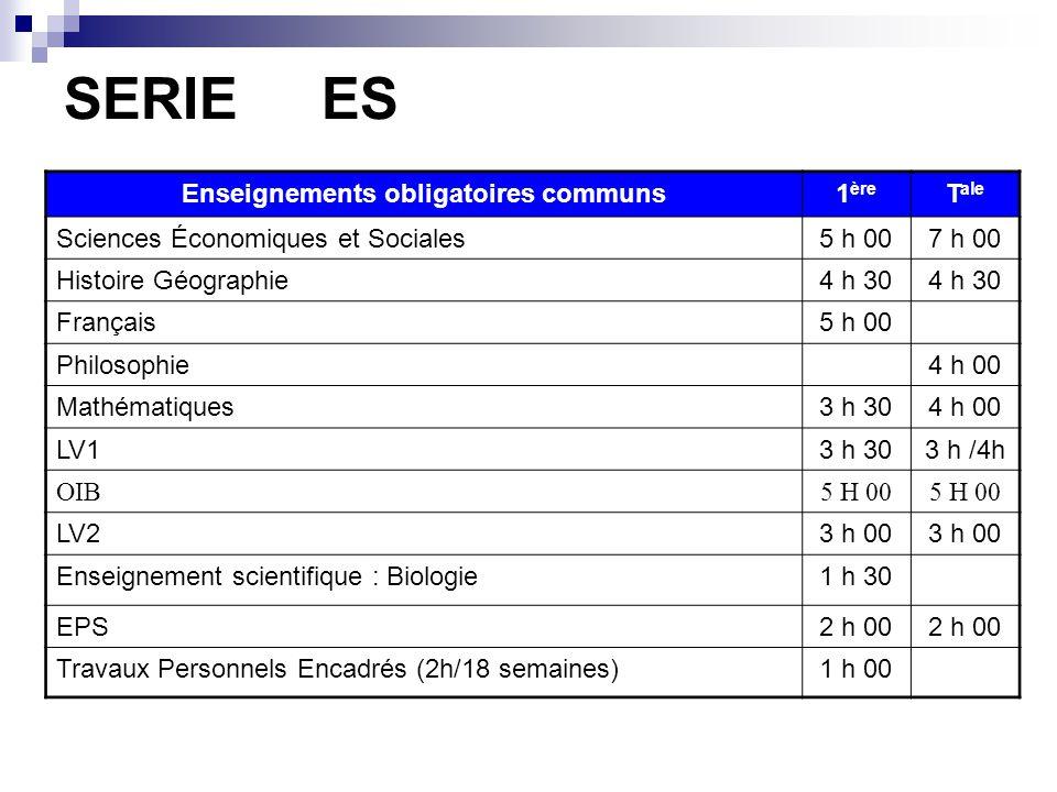 L'organisation des enseignements Enseignements obligatoires communs 1 enseignement obligatoire au choix en 1 ère (séries ES et L) 1 enseignement de sp