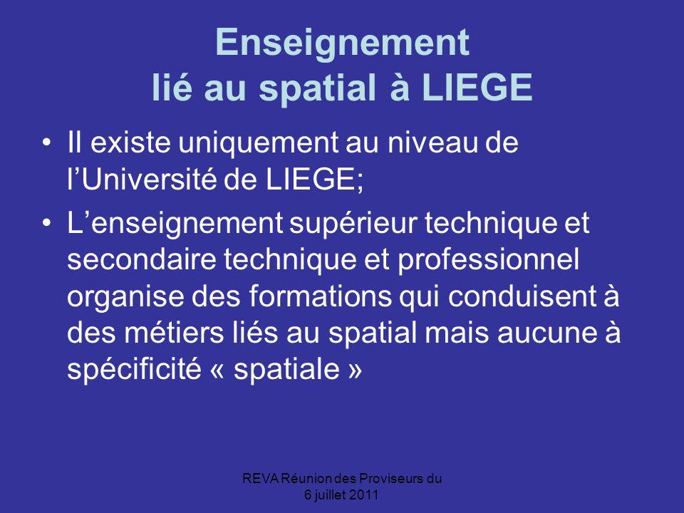 REVA Réunion des Proviseurs du 6 juillet 2011 Enseignement lié au spatial à LIEGE Il existe uniquement au niveau de l'Université de LIEGE; L'enseignement supérieur technique et secondaire technique et professionnel organise des formations qui conduisent à des métiers liés au spatial mais aucune à spécificité « spatiale »