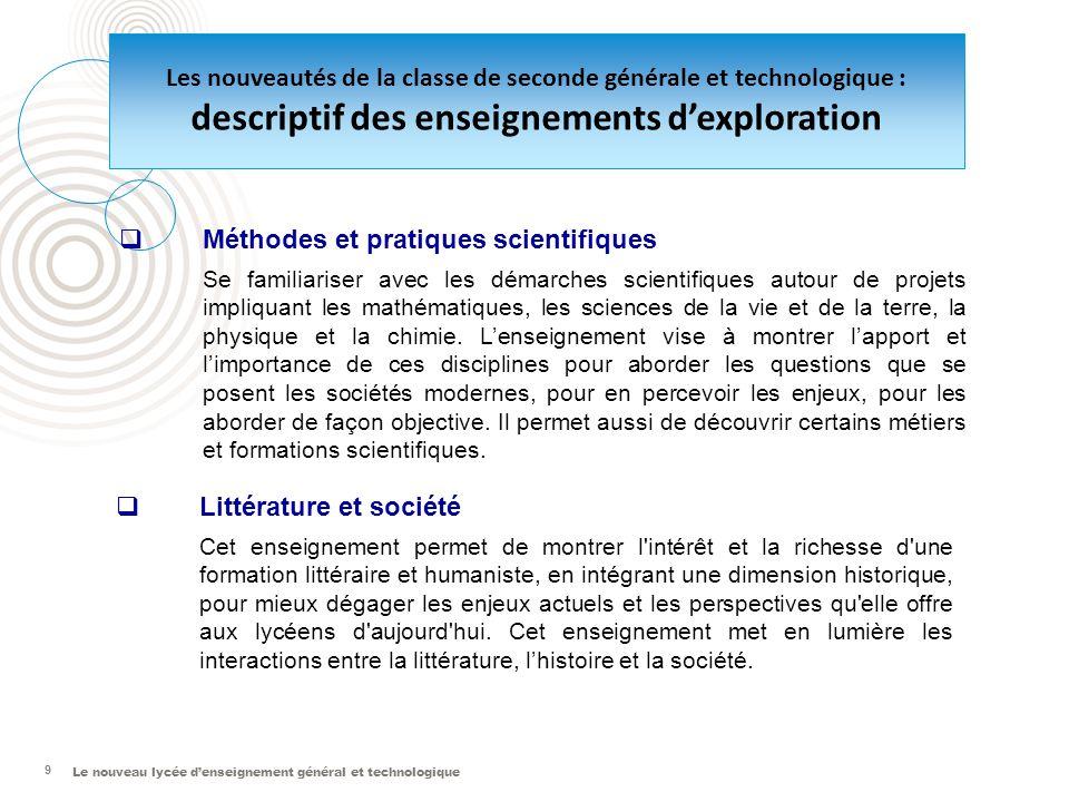 Le nouveau lycée d'enseignement général et technologique 9  Méthodes et pratiques scientifiques Se familiariser avec les démarches scientifiques auto
