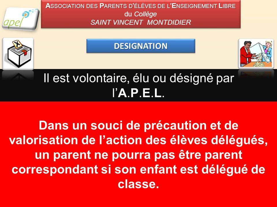 DESIGNATIONDESIGNATION Il est volontaire, élu ou désigné par l'A.P.E.L.