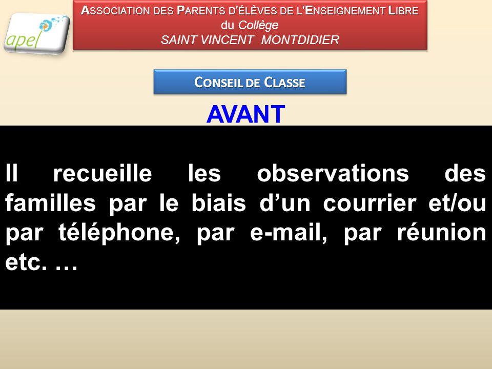 C ONSEIL DE C LASSE AVANT Il recueille les observations des familles par le biais d'un courrier et/ou par téléphone, par e-mail, par réunion etc.