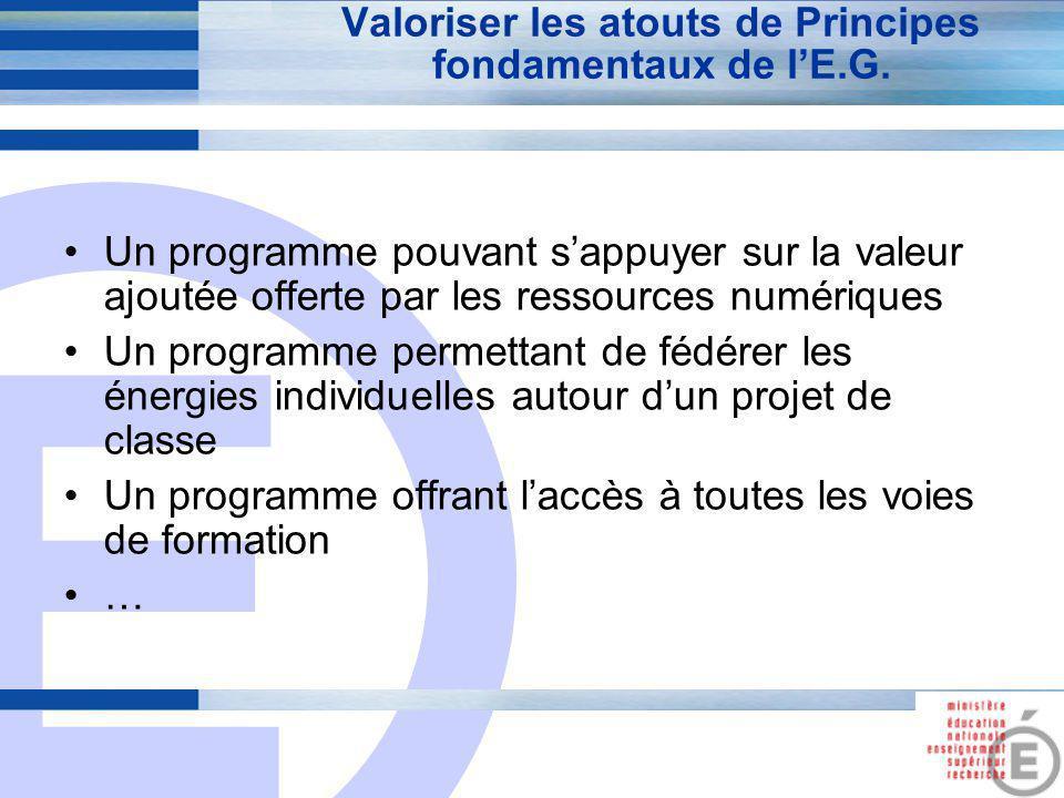 E 4 Valoriser les atouts de Principes fondamentaux de l'E.G. Un programme pouvant s'appuyer sur la valeur ajoutée offerte par les ressources numérique