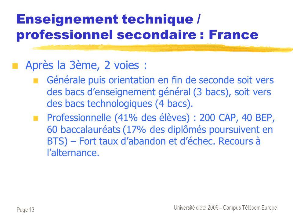 Page 13 Université d'été 2006 – Campus Télécom Europe Enseignement technique / professionnel secondaire : France Après la 3ème, 2 voies : Générale pui