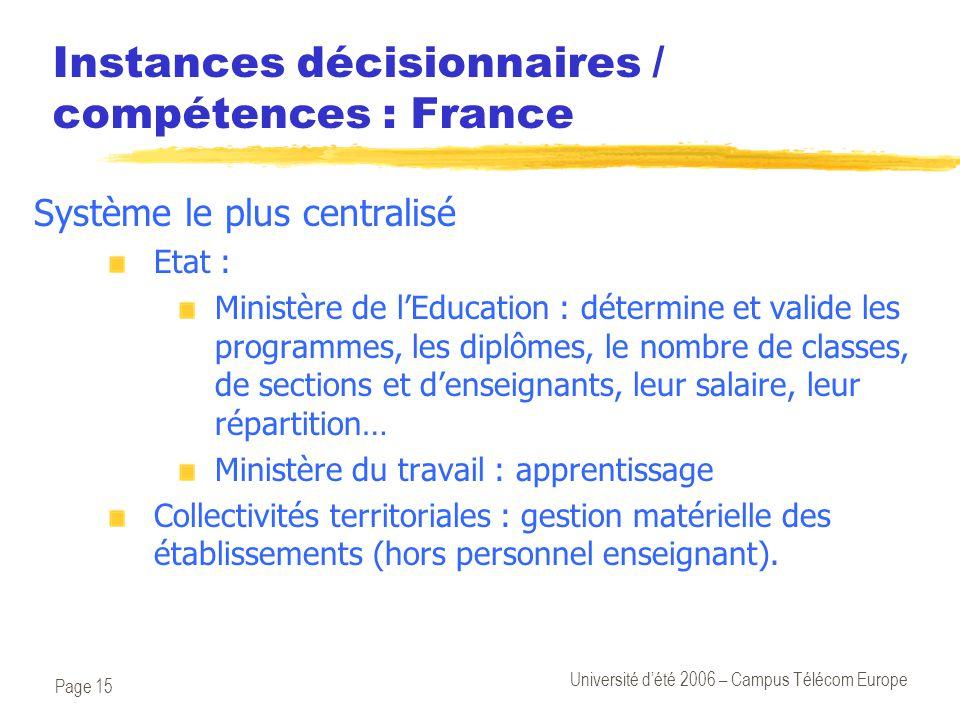 Page 15 Université d'été 2006 – Campus Télécom Europe Instances décisionnaires / compétences : France Système le plus centralisé Etat : Ministère de l
