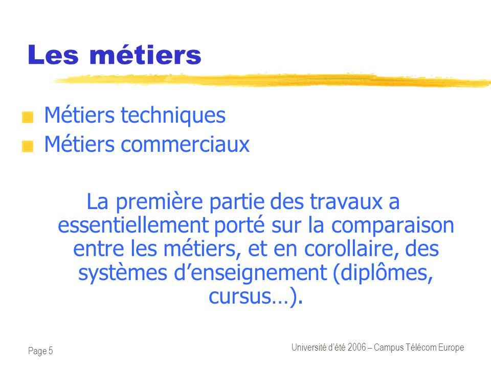 Page 5 Université d'été 2006 – Campus Télécom Europe Les métiers Métiers techniques Métiers commerciaux La première partie des travaux a essentiellement porté sur la comparaison entre les métiers, et en corollaire, des systèmes d'enseignement (diplômes, cursus…).
