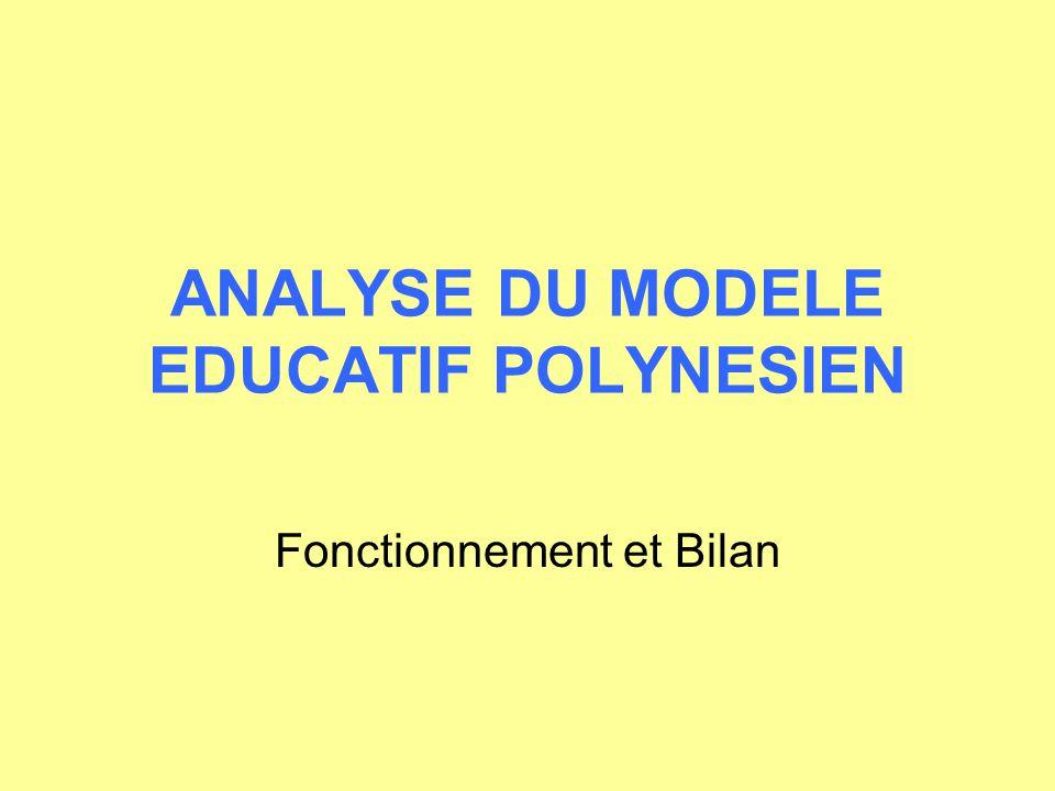 ANALYSE DU MODELE EDUCATIF POLYNESIEN Fonctionnement et Bilan