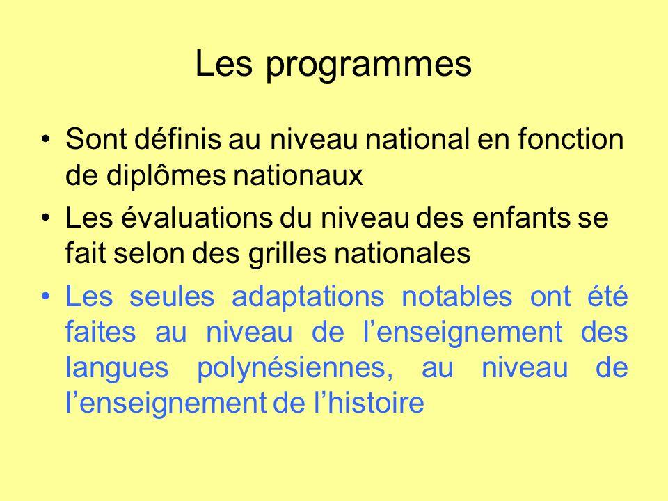 Les programmes Sont définis au niveau national en fonction de diplômes nationaux Les évaluations du niveau des enfants se fait selon des grilles natio