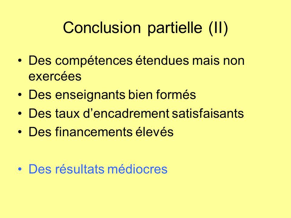 Conclusion partielle (II) Des compétences étendues mais non exercées Des enseignants bien formés Des taux d'encadrement satisfaisants Des financements