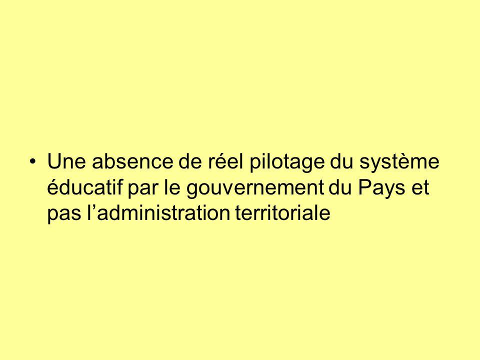Une absence de réel pilotage du système éducatif par le gouvernement du Pays et pas l'administration territoriale
