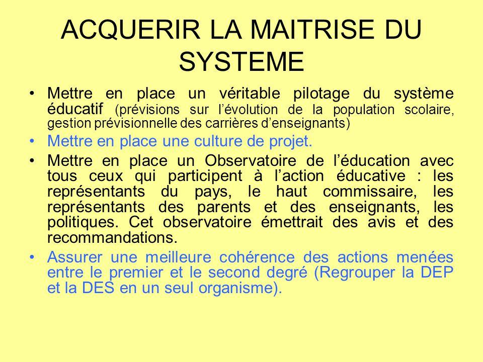 ACQUERIR LA MAITRISE DU SYSTEME Mettre en place un véritable pilotage du système éducatif (prévisions sur l'évolution de la population scolaire, gesti