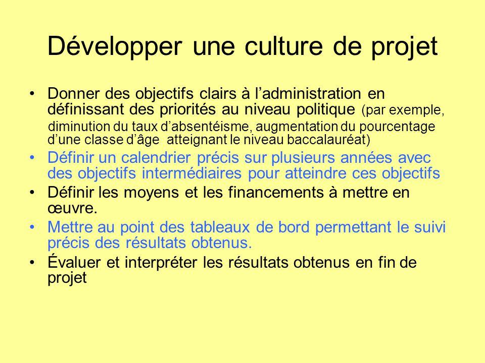 Développer une culture de projet Donner des objectifs clairs à l'administration en définissant des priorités au niveau politique (par exemple, diminut