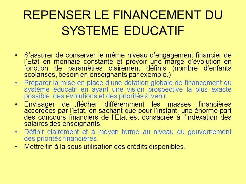 REPENSER LE FINANCEMENT DU SYSTEME EDUCATIF S'assurer de conserver le même niveau d'engagement financier de l'Etat en monnaie constante et prévoir une
