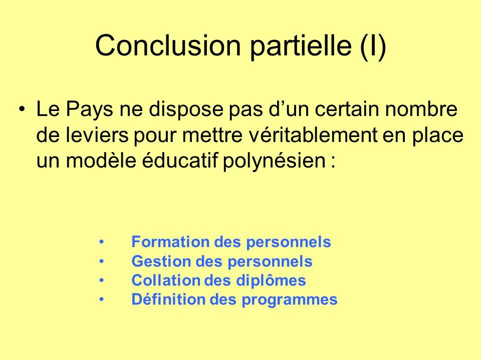Conclusion partielle (I) Le Pays ne dispose pas d'un certain nombre de leviers pour mettre véritablement en place un modèle éducatif polynésien : Form