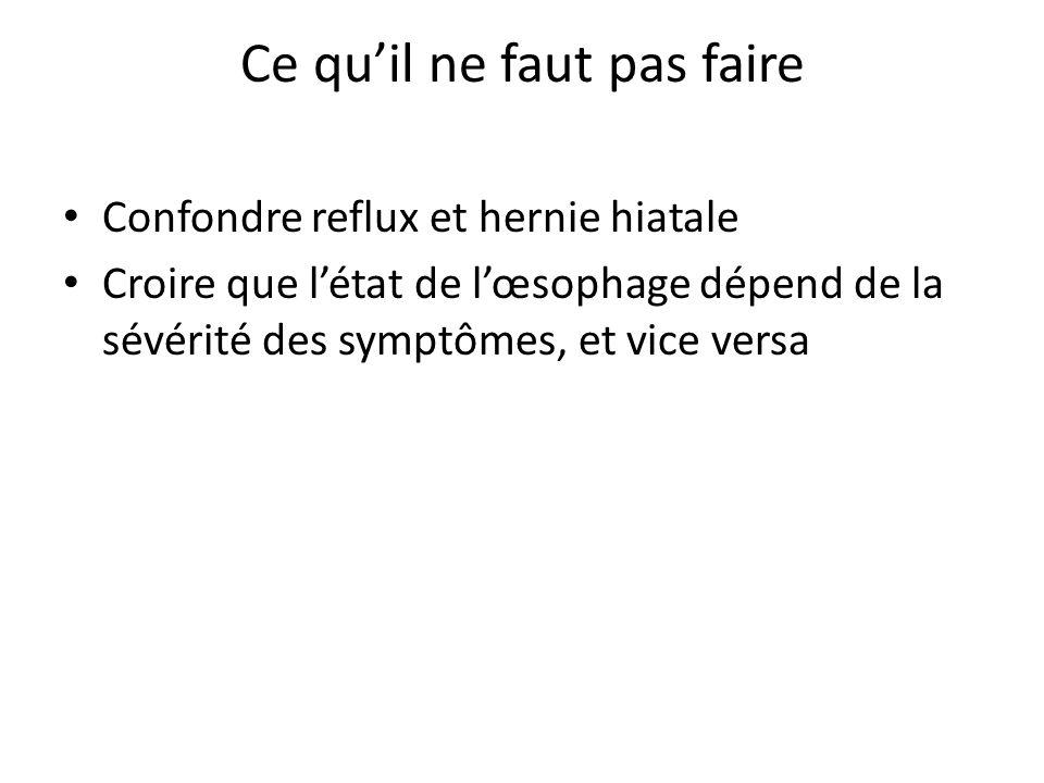 Ce qu'il ne faut pas faire Confondre reflux et hernie hiatale Croire que l'état de l'œsophage dépend de la sévérité des symptômes, et vice versa