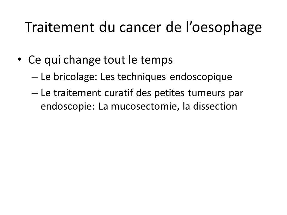 Traitement du cancer de l'oesophage Ce qui change tout le temps – Le bricolage: Les techniques endoscopique – Le traitement curatif des petites tumeur