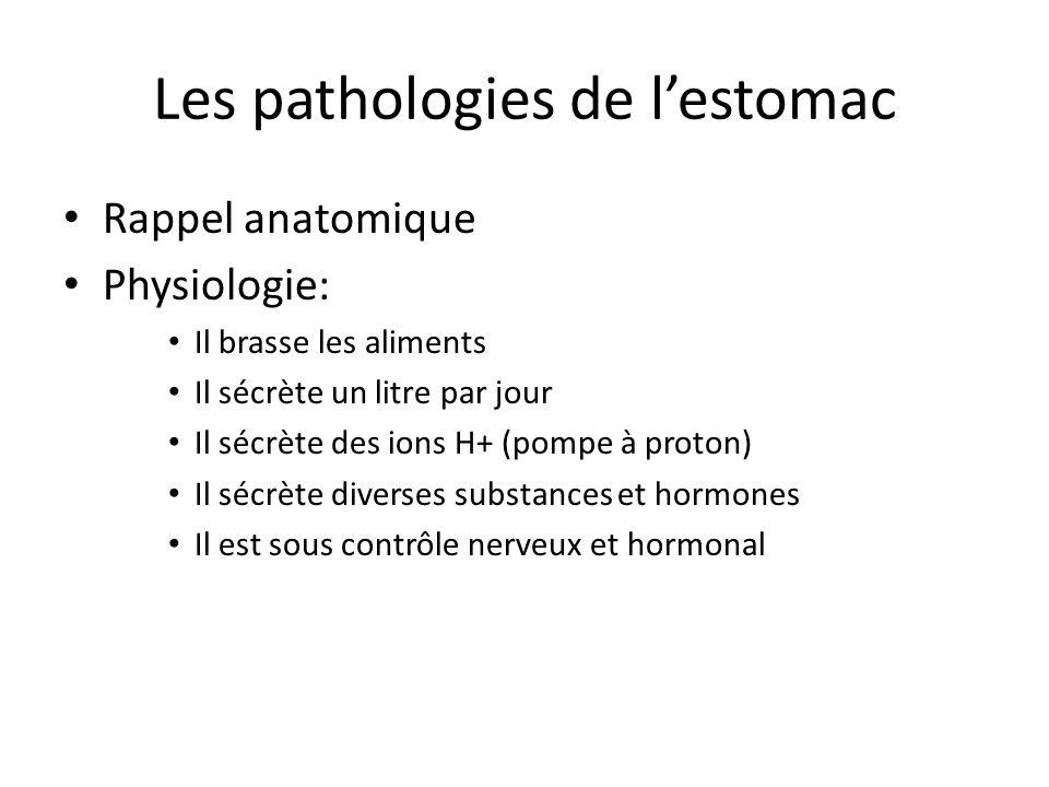 Les pathologies de l'estomac Rappel anatomique Physiologie: Il brasse les aliments Il sécrète un litre par jour Il sécrète des ions H+ (pompe à proton