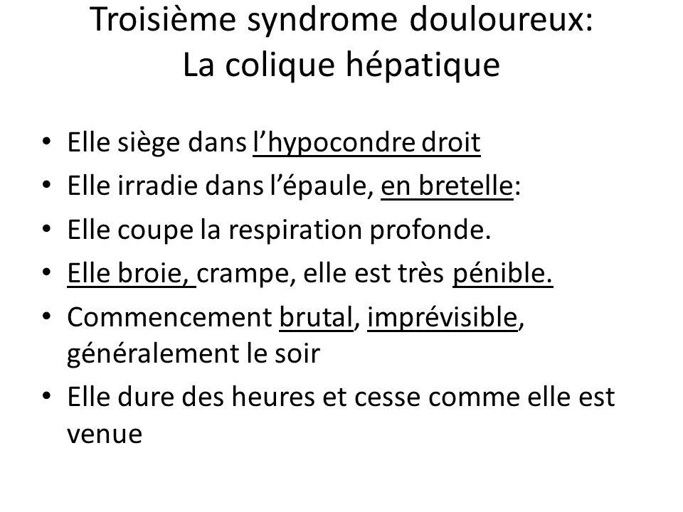 Troisième syndrome douloureux: La colique hépatique Elle siège dans l'hypocondre droit Elle irradie dans l'épaule, en bretelle: Elle coupe la respirat