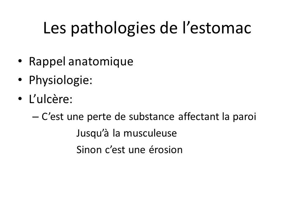 Les pathologies de l'estomac Rappel anatomique Physiologie: L'ulcère: – C'est une perte de substance affectant la paroi Jusqu'à la musculeuse Sinon c'