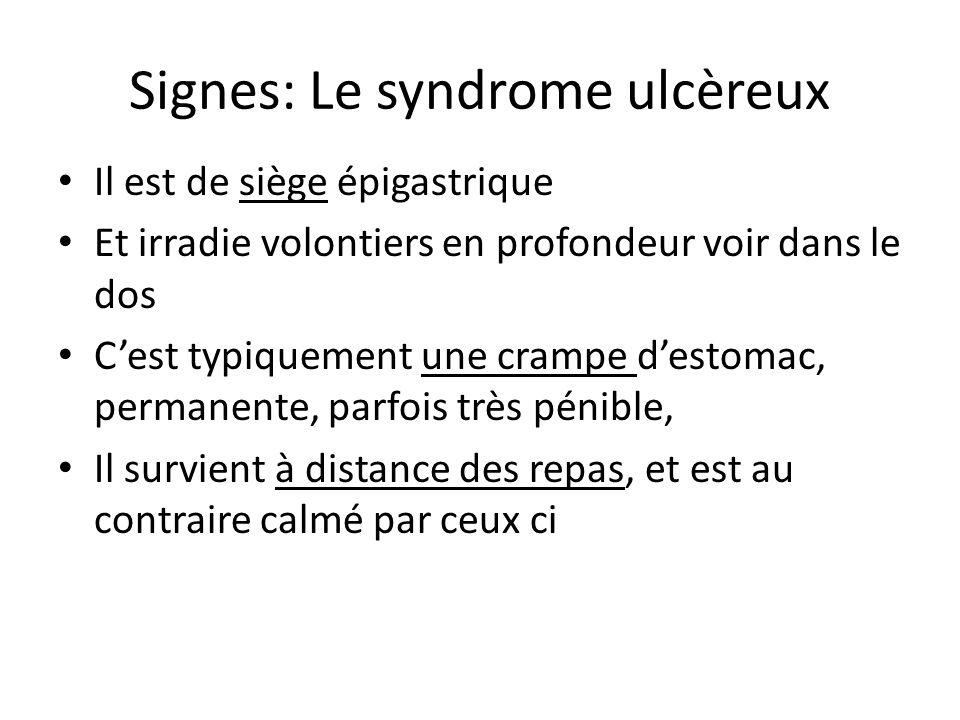 Signes: Le syndrome ulcèreux Il est de siège épigastrique Et irradie volontiers en profondeur voir dans le dos C'est typiquement une crampe d'estomac,