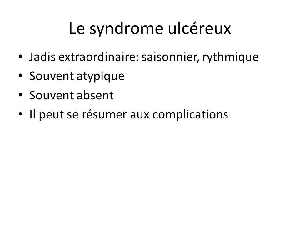 Le syndrome ulcéreux Jadis extraordinaire: saisonnier, rythmique Souvent atypique Souvent absent Il peut se résumer aux complications
