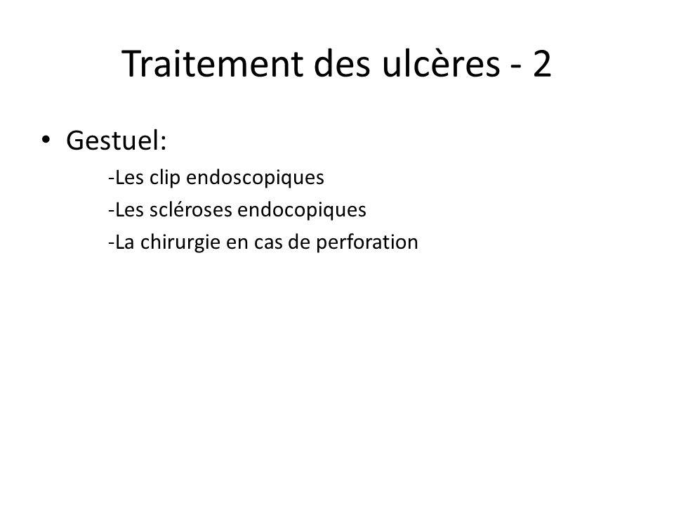 Traitement des ulcères - 2 Gestuel: -Les clip endoscopiques -Les scléroses endocopiques -La chirurgie en cas de perforation