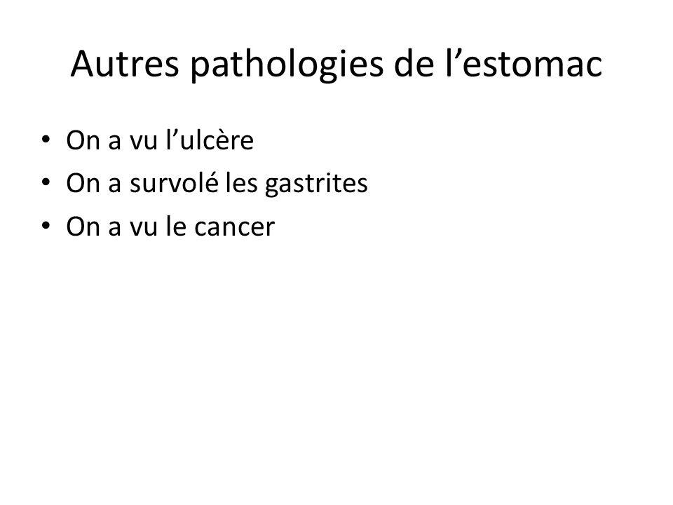 Autres pathologies de l'estomac On a vu l'ulcère On a survolé les gastrites On a vu le cancer