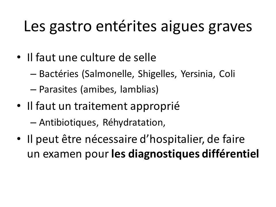Les gastro entérites aigues graves Il faut une culture de selle – Bactéries (Salmonelle, Shigelles, Yersinia, Coli – Parasites (amibes, lamblias) Il f