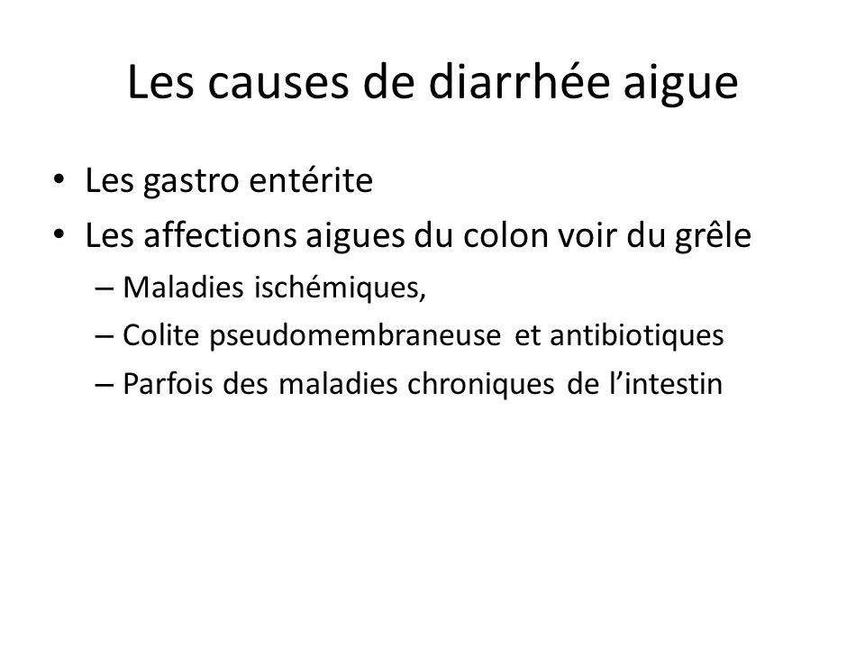 Les causes de diarrhée aigue Les gastro entérite Les affections aigues du colon voir du grêle – Maladies ischémiques, – Colite pseudomembraneuse et an