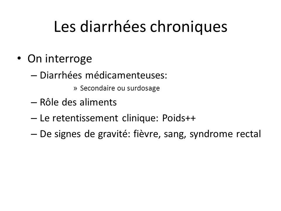 Les diarrhées chroniques On interroge – Diarrhées médicamenteuses: » Secondaire ou surdosage – Rôle des aliments – Le retentissement clinique: Poids++