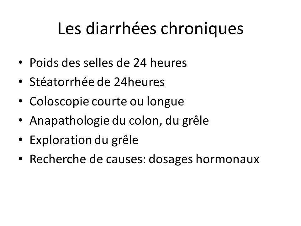 Les diarrhées chroniques Poids des selles de 24 heures Stéatorrhée de 24heures Coloscopie courte ou longue Anapathologie du colon, du grêle Exploratio