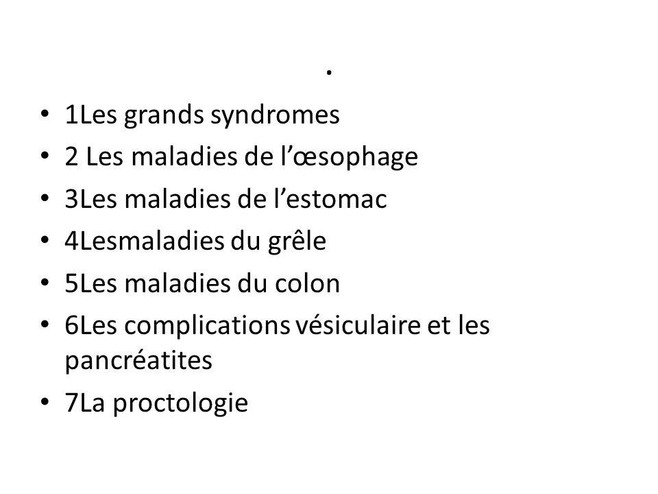 . 1Les grands syndromes 2 Les maladies de l'œsophage 3Les maladies de l'estomac 4Lesmaladies du grêle 5Les maladies du colon 6Les complications vésicu