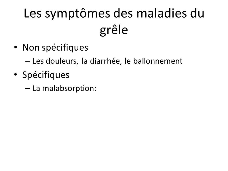 Les symptômes des maladies du grêle Non spécifiques – Les douleurs, la diarrhée, le ballonnement Spécifiques – La malabsorption: