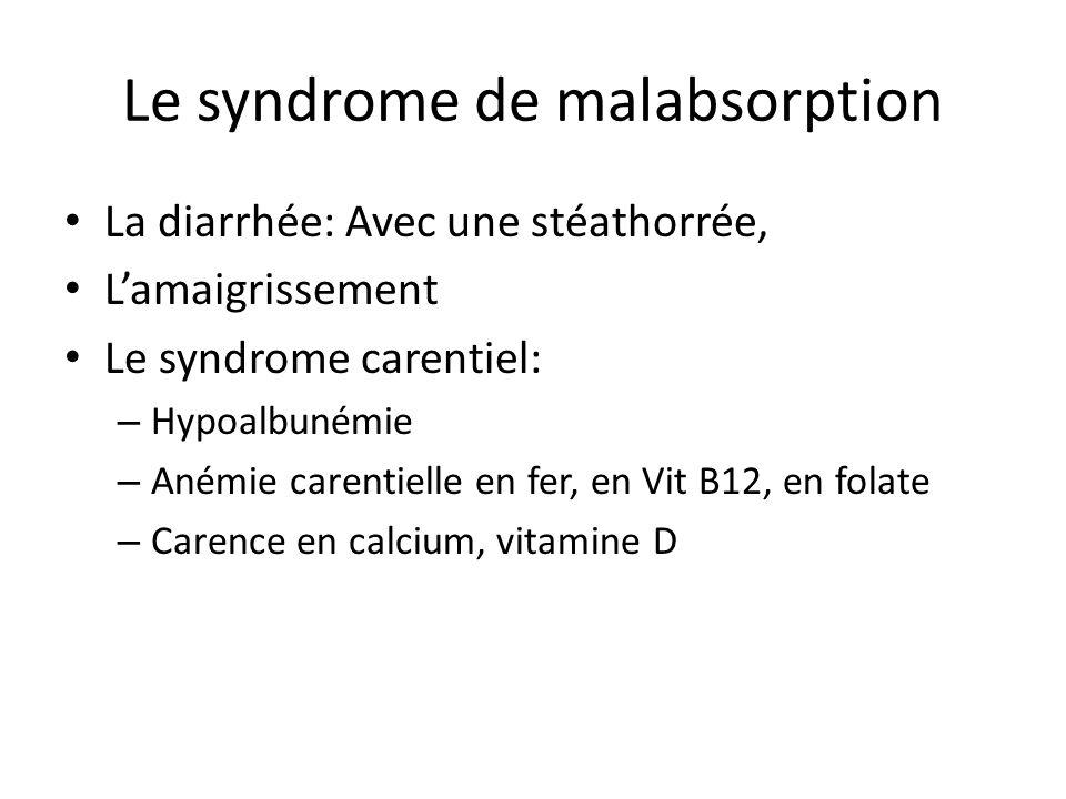 Le syndrome de malabsorption La diarrhée: Avec une stéathorrée, L'amaigrissement Le syndrome carentiel: – Hypoalbunémie – Anémie carentielle en fer, e