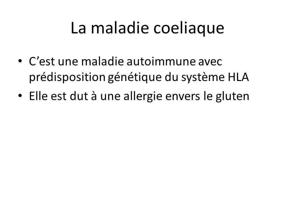 La maladie coeliaque C'est une maladie autoimmune avec prédisposition génétique du système HLA Elle est dut à une allergie envers le gluten