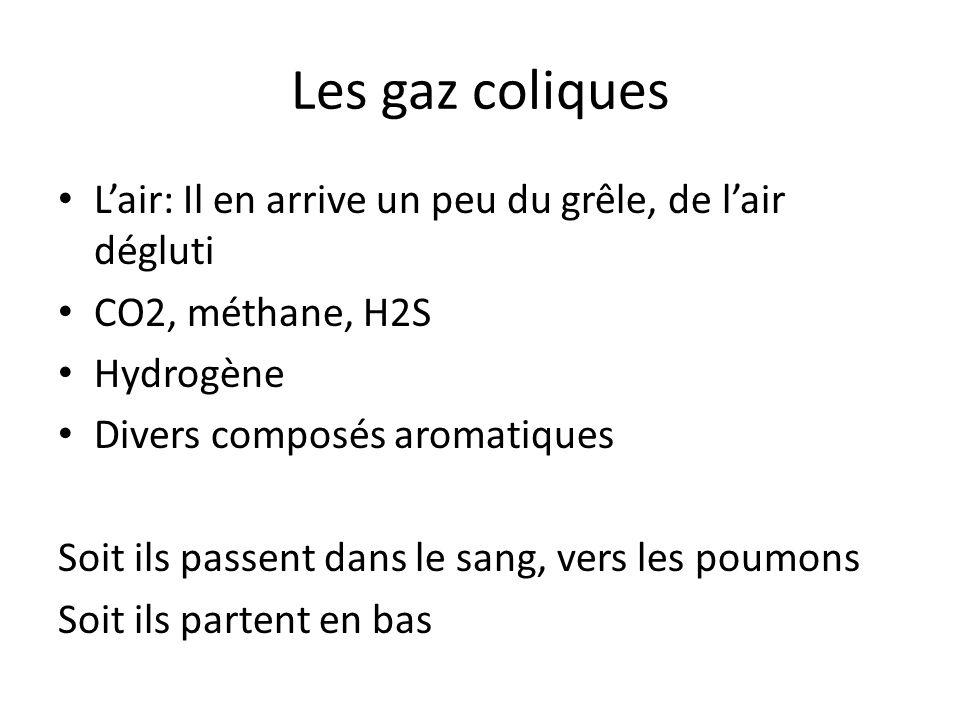 Les gaz coliques L'air: Il en arrive un peu du grêle, de l'air dégluti CO2, méthane, H2S Hydrogène Divers composés aromatiques Soit ils passent dans l