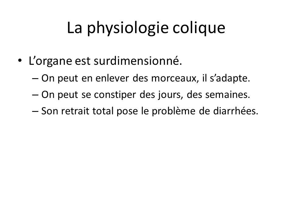 La physiologie colique L'organe est surdimensionné. – On peut en enlever des morceaux, il s'adapte. – On peut se constiper des jours, des semaines. –