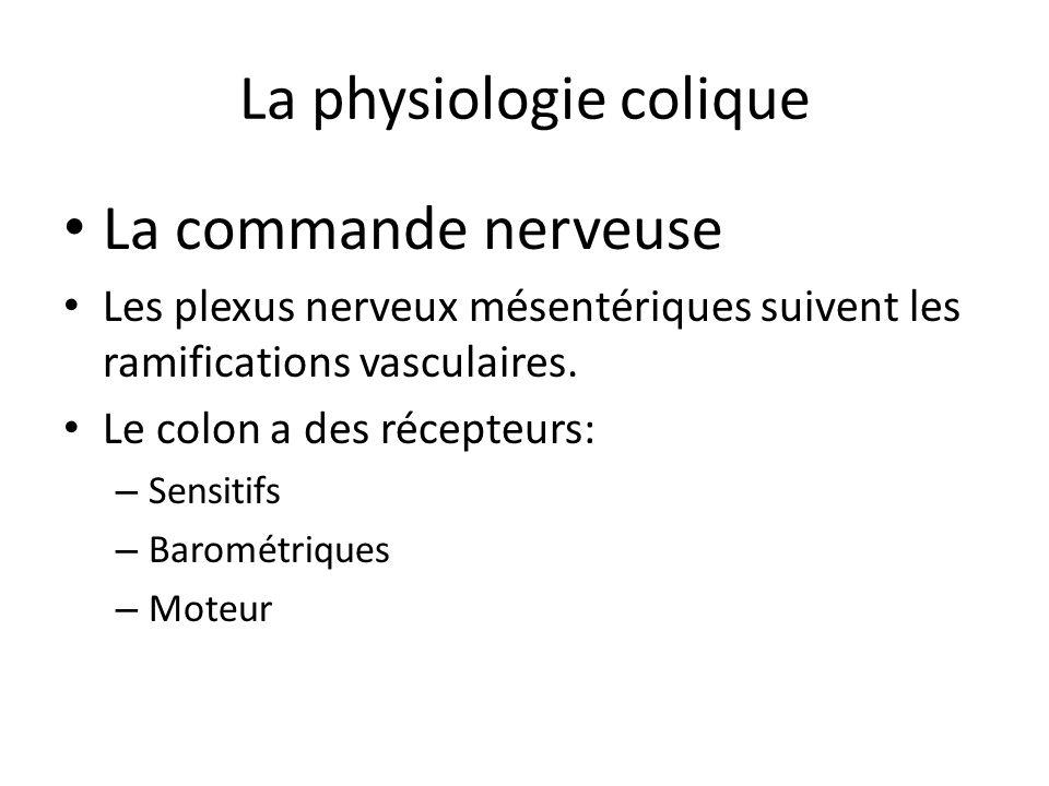 La physiologie colique La commande nerveuse Les plexus nerveux mésentériques suivent les ramifications vasculaires. Le colon a des récepteurs: – Sensi