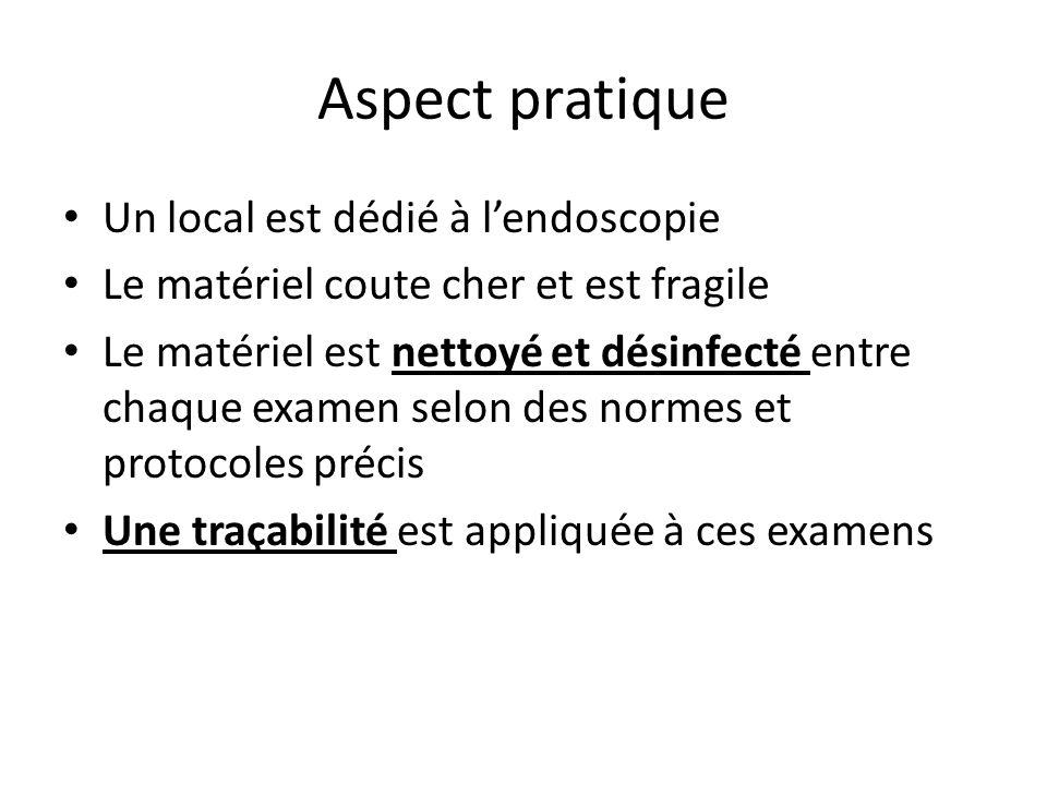 Aspect pratique Un local est dédié à l'endoscopie Le matériel coute cher et est fragile Le matériel est nettoyé et désinfecté entre chaque examen selo