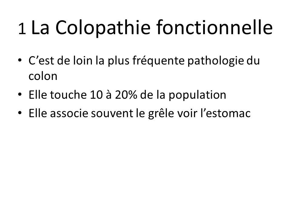 1 La Colopathie fonctionnelle C'est de loin la plus fréquente pathologie du colon Elle touche 10 à 20% de la population Elle associe souvent le grêle