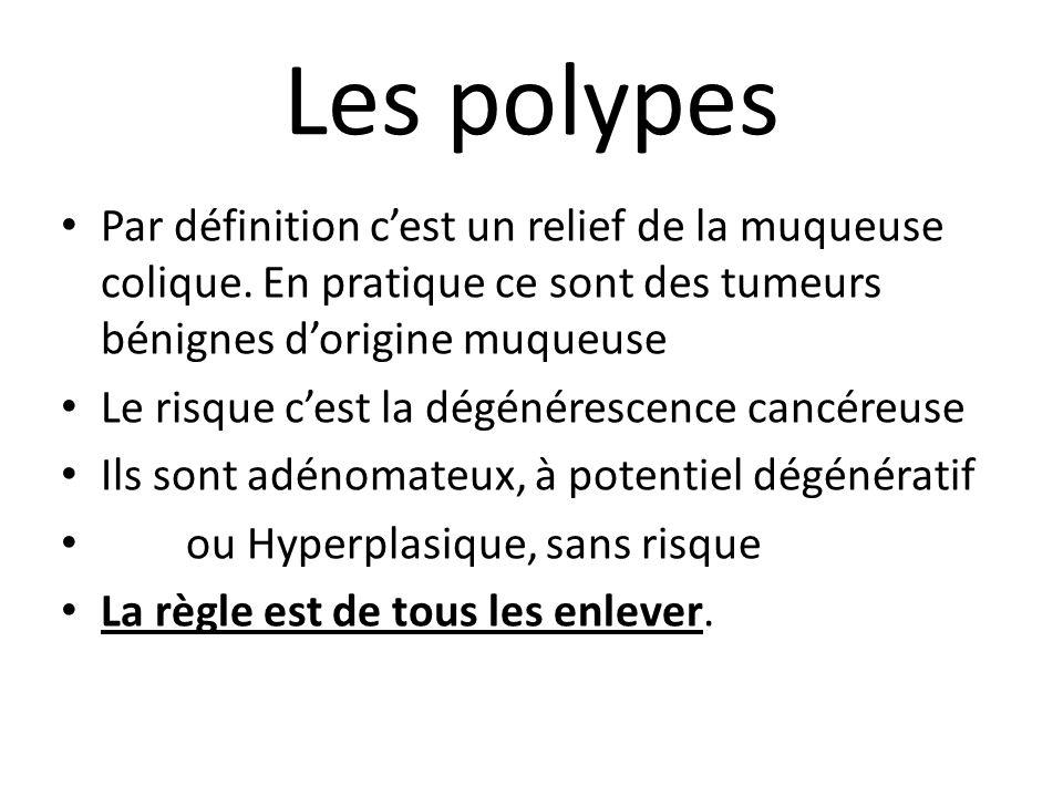 Les polypes Par définition c'est un relief de la muqueuse colique. En pratique ce sont des tumeurs bénignes d'origine muqueuse Le risque c'est la dégé