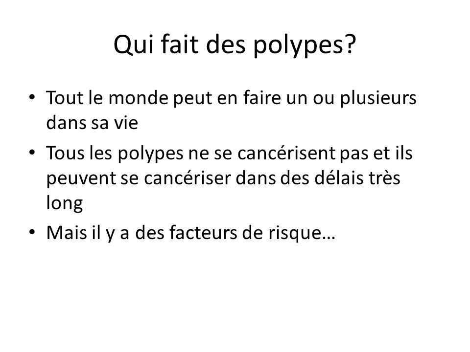 Qui fait des polypes? Tout le monde peut en faire un ou plusieurs dans sa vie Tous les polypes ne se cancérisent pas et ils peuvent se cancériser dans
