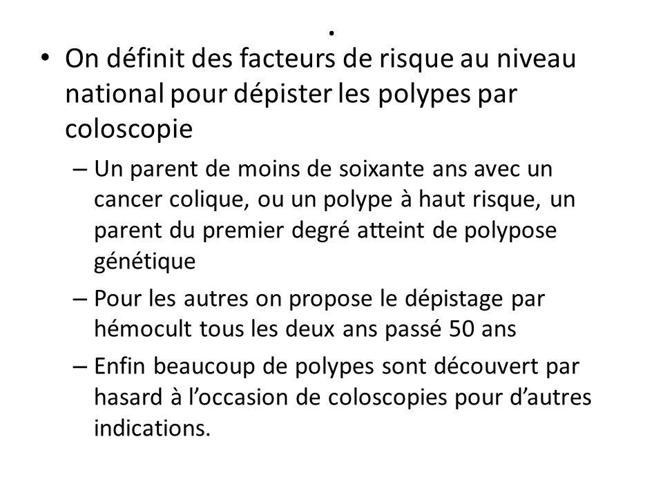 . On définit des facteurs de risque au niveau national pour dépister les polypes par coloscopie – Un parent de moins de soixante ans avec un cancer co